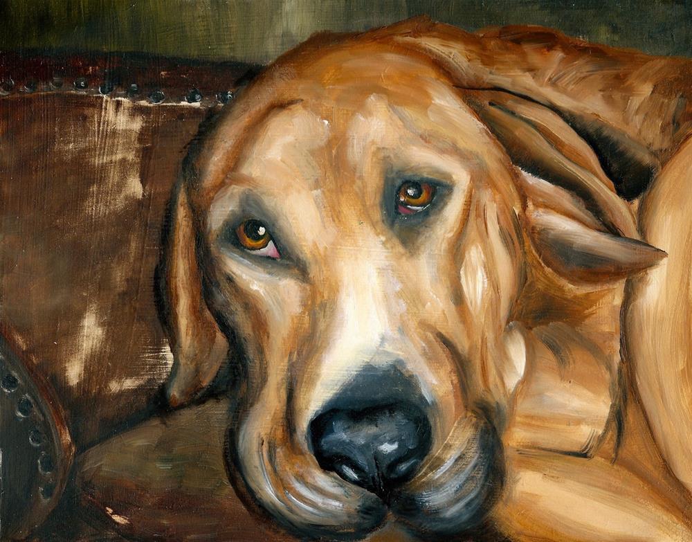 """""""Hound on the Chesterfield"""" original fine art by Karen Robinson"""