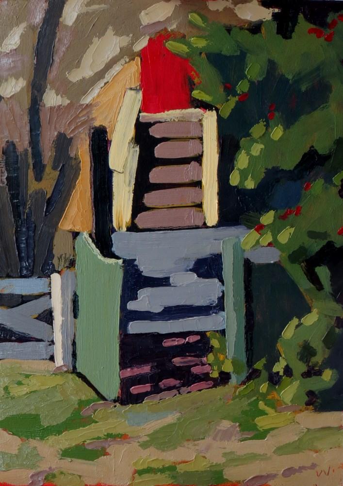 """""""Next Door"""" original fine art by Joan Wiberg"""