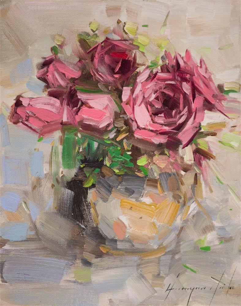 """""""Vase of Roses Oil painting on Canvas"""" original fine art by V Y"""