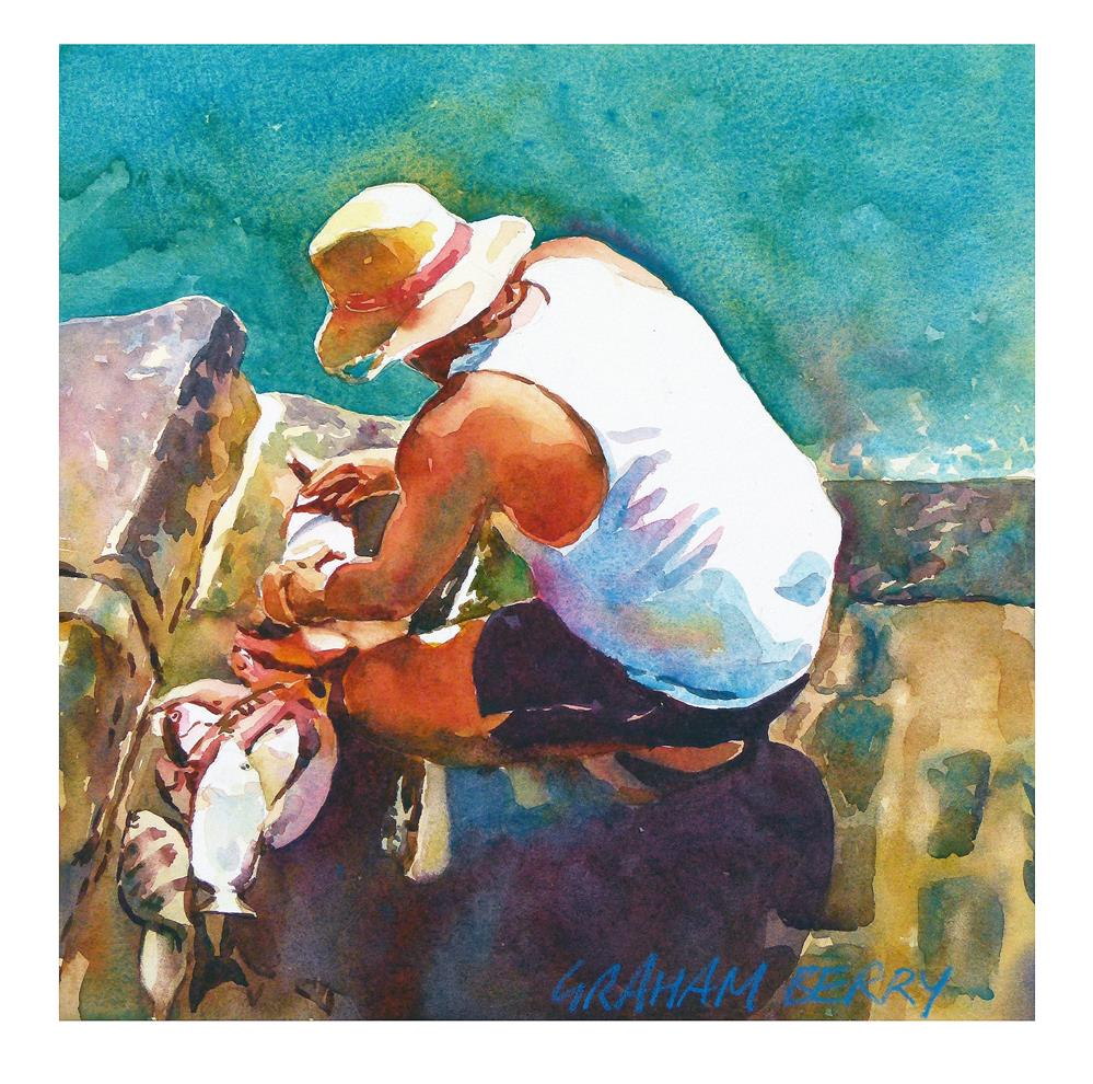 """Cleaning the fish"" original fine art by Graham Berry"