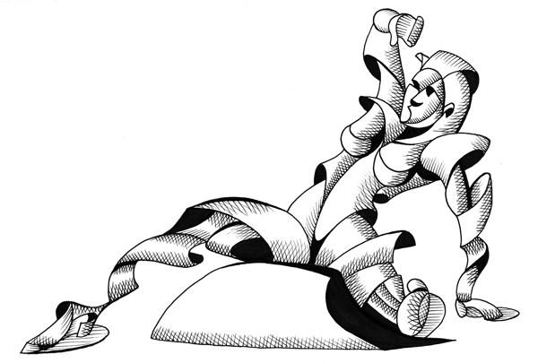 """Mark Webster - Felicia 1902 - Abstract Geometric Futurist Figurative Ink Drawing"" original fine art by Mark Webster"