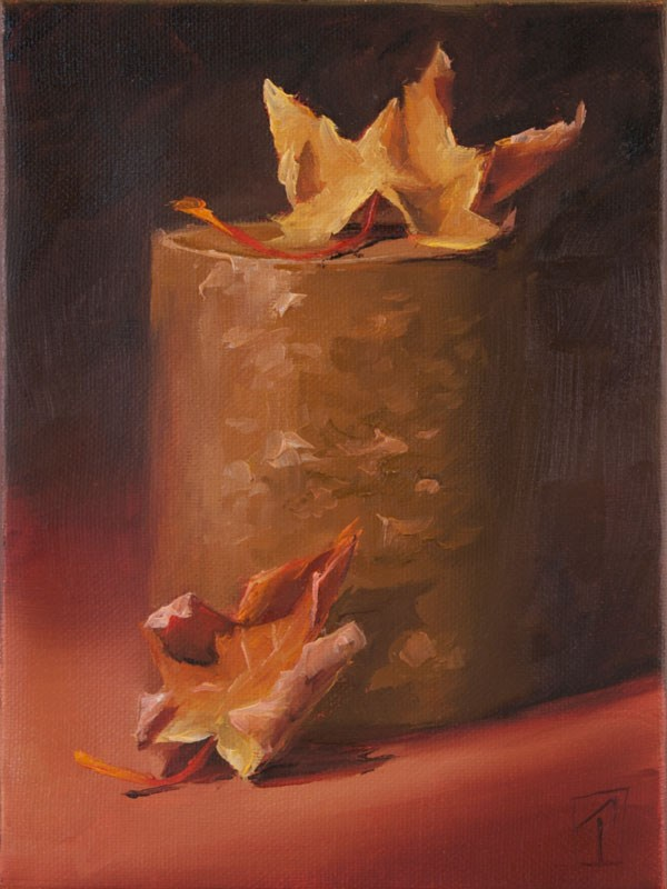"""Stump Series Fall Leaves"" original fine art by Lori Twiggs"