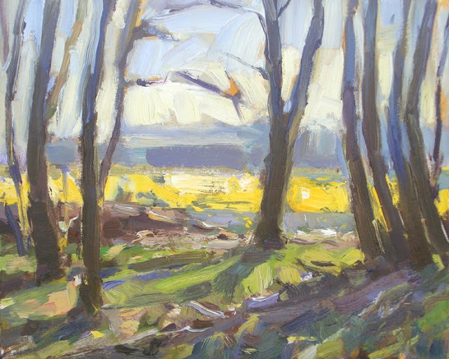 """""""Landscape spring #1 Trees and narcissusfield"""" original fine art by Roos Schuring"""
