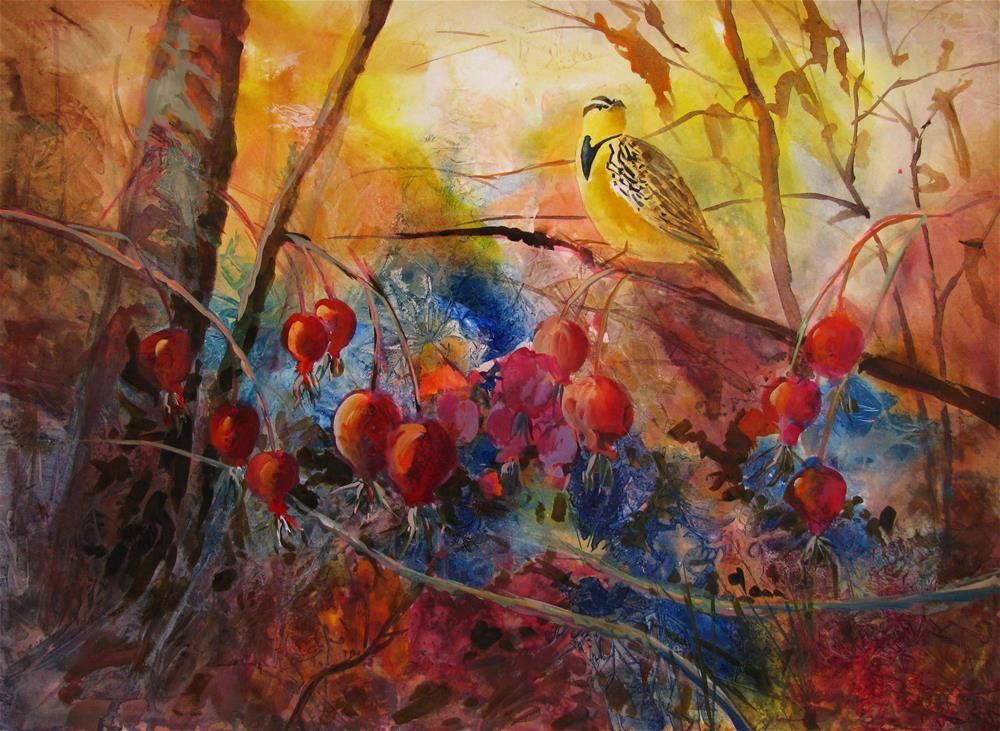 """Meadowlark & Rosehips"" original fine art by Melissa Gannon"