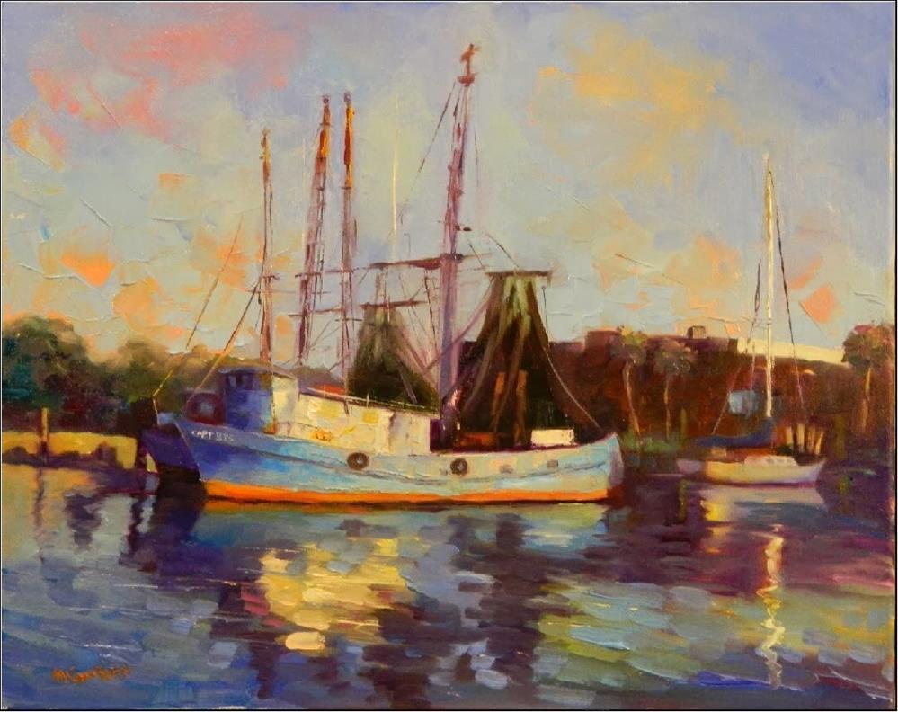 """Early Morning Light, Shem's Creek, 16x 20, oil on canvas, Charleston, fishing boats, shrimp boats,"" original fine art by Maryanne Jacobsen"