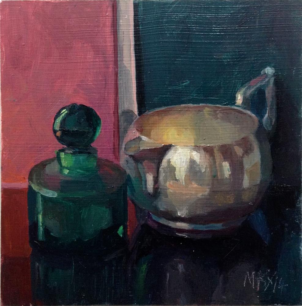 """""""Little Green Bottle"""" original fine art by Myriam Kin-Yee"""