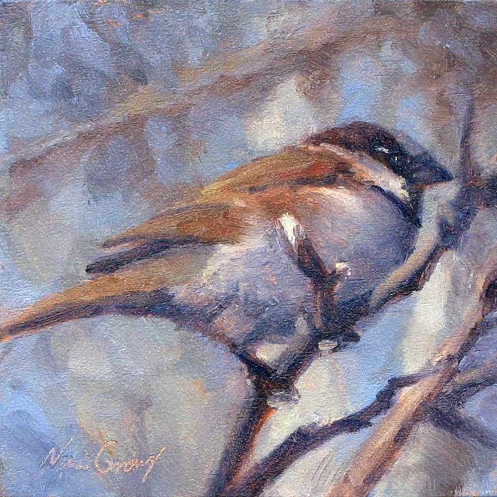 """""""Sparrow in the Branches"""" original fine art by Naomi Gray"""