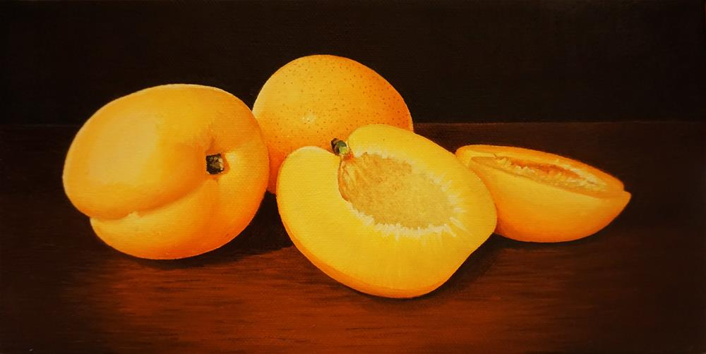 """The Fruit Challenge Apricots "" original fine art by Catherine Al-Rubaie"