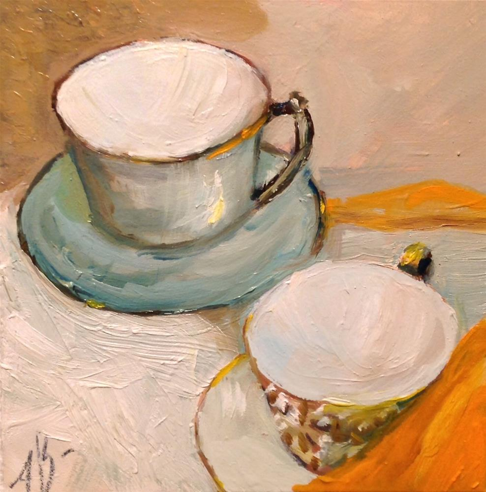 """Orange Tea Napkin"" original fine art by Annette Balesteri"