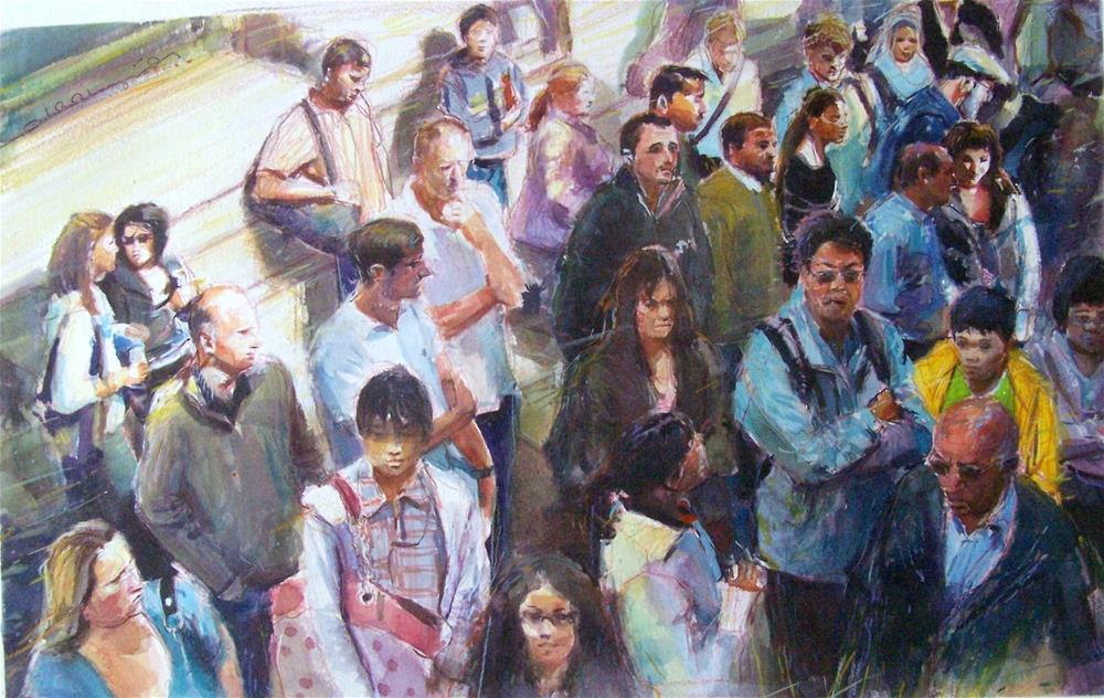 """The Bus Stop (Earls Court)"" original fine art by Adebanji Alade"
