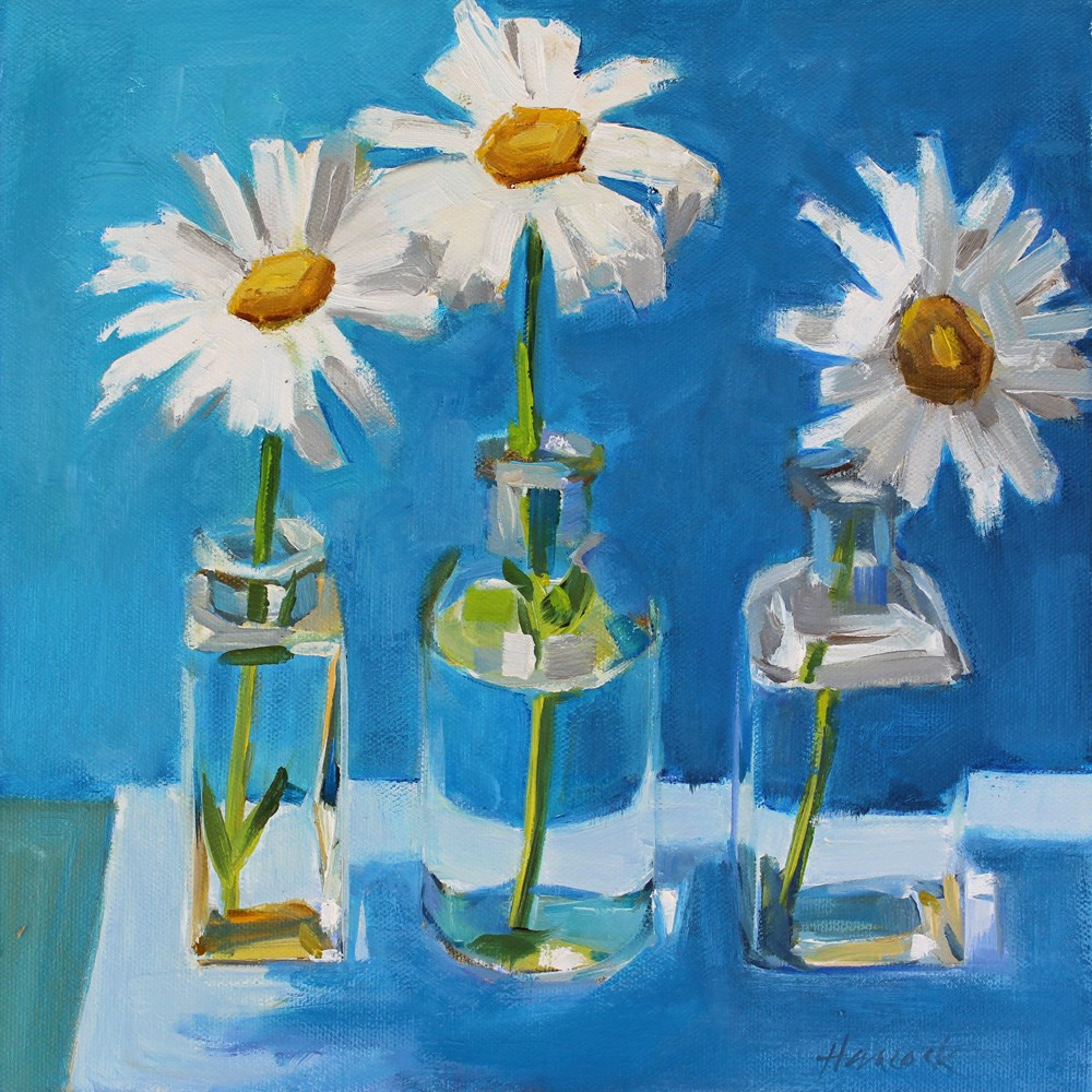"""Daisies in a Row"" original fine art by Gretchen Hancock"