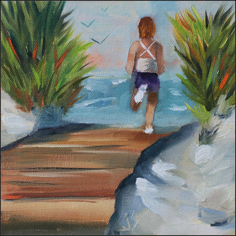"""Last Run of the Day"" original fine art by Johnna Schelling"