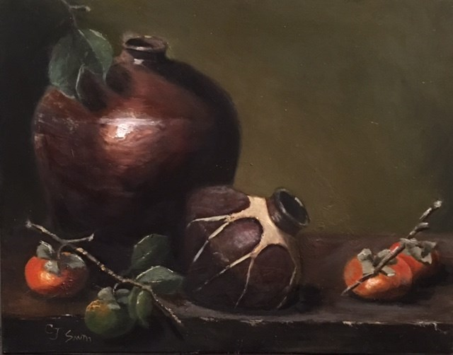 """""""Persimmons with Pottery"""" original fine art by Cheryl J Smith"""