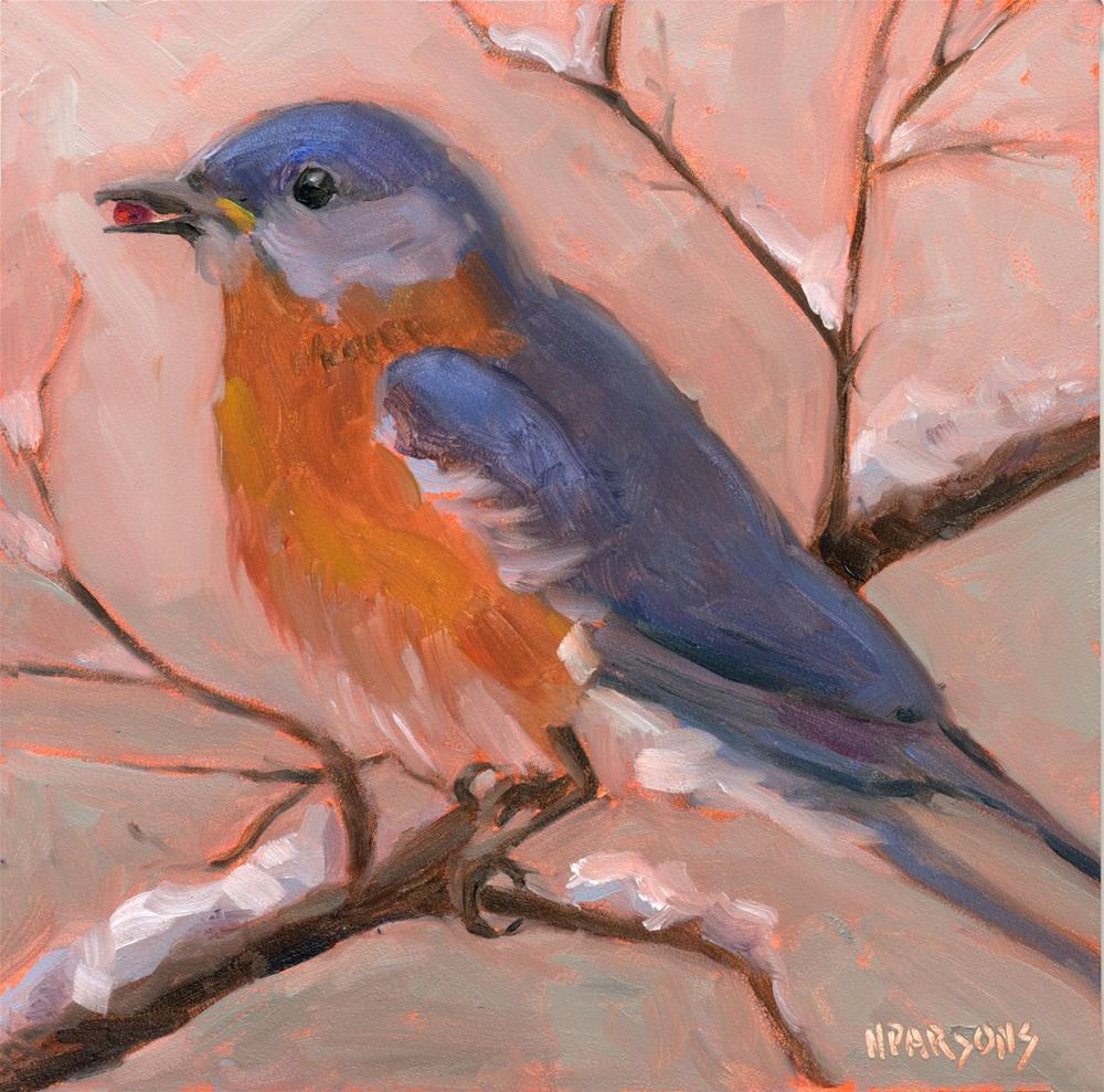 """Birdie Want a Berry?"" original fine art by Nancy Parsons"