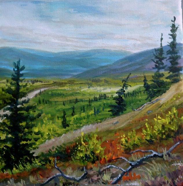 """Hiking the Robert Campbell"" original fine art by Jackie Irvine"