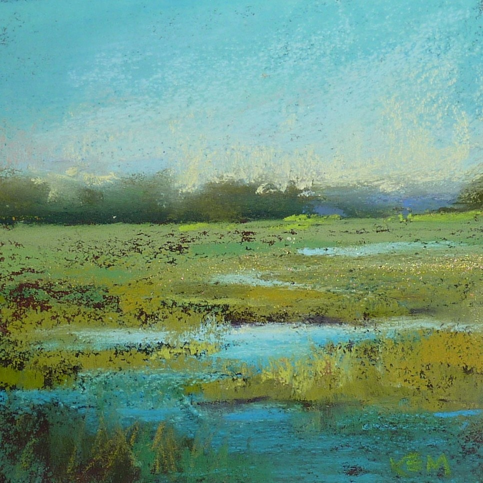 """Using Fixative to Simplify a Pastel Landscape ..marshes"" original fine art by Karen Margulis"