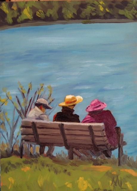 """Having a Chat"" original fine art by Marjie Laizure"