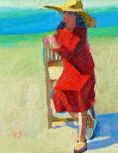 """A Girl Needs a Red Dress 13027"" original fine art by Nancy Standlee"