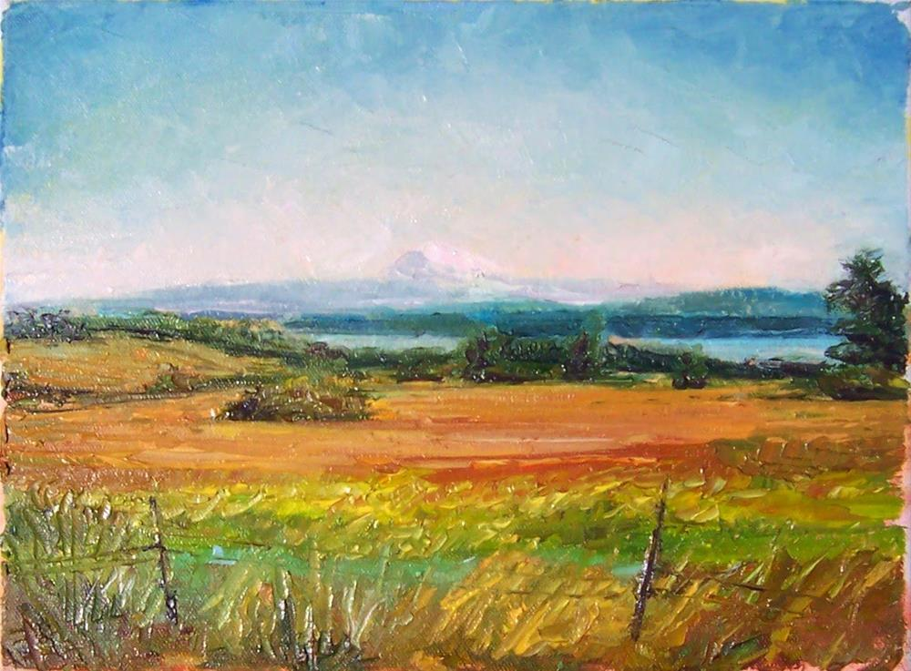 """""""View from the Island,landscape,oil on canvas,9x12,$325"""" original fine art by Joy Olney"""