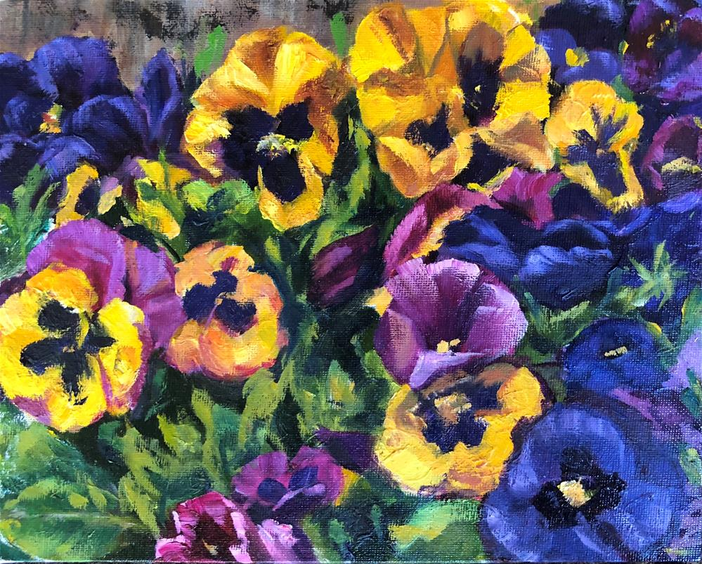 """Pansies in the Yard"" original fine art by Renee Robison"