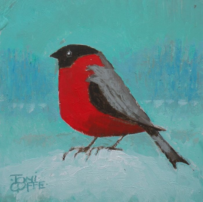 """Very Red Bunting"" original fine art by Toni Goffe"