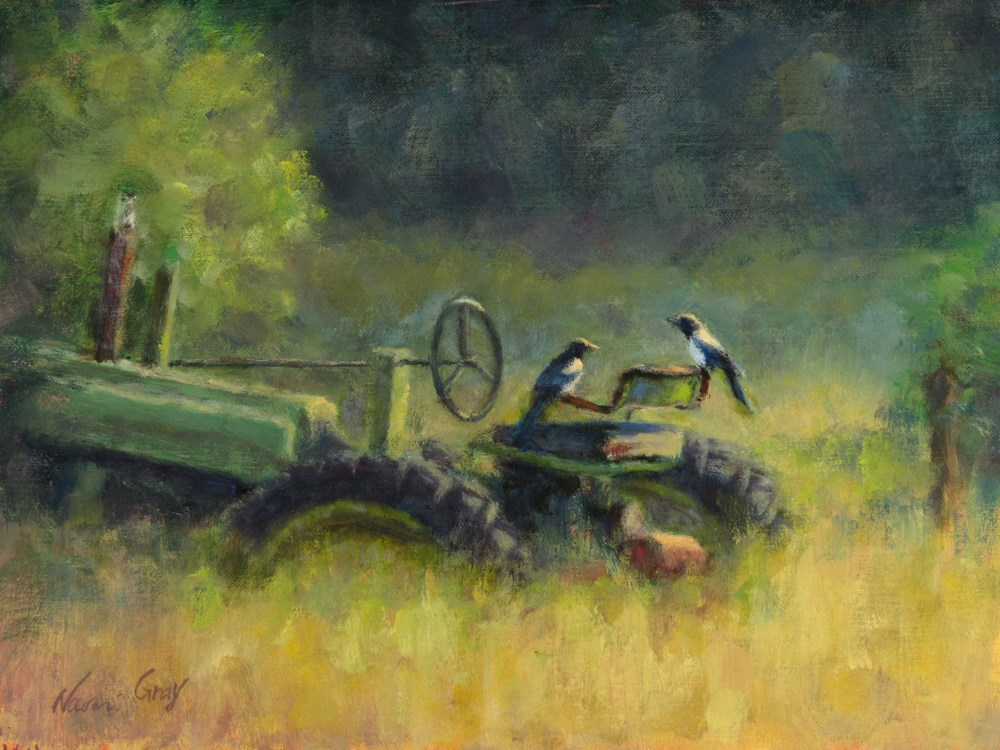 """""""Magpies on the Green Tractor"""" original fine art by Naomi Gray"""