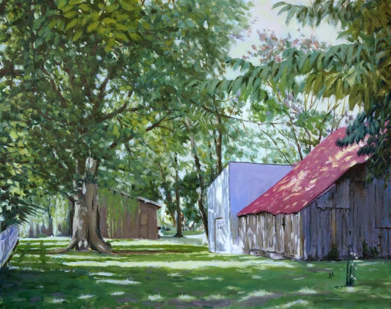 """New Harmony Barn"" original fine art by Daniel Fishback"