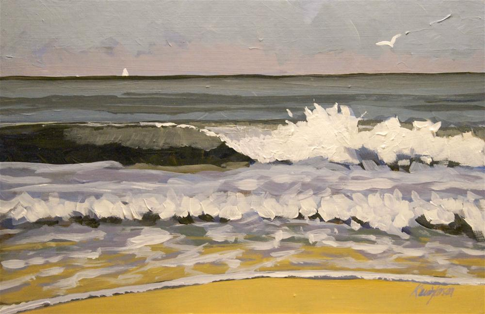 """Distant sail crashing wave"" original fine art by Kevin Larson"