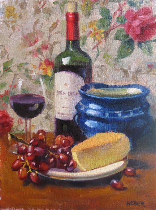 """A bottle of red"" original fine art by Kathy Weber"