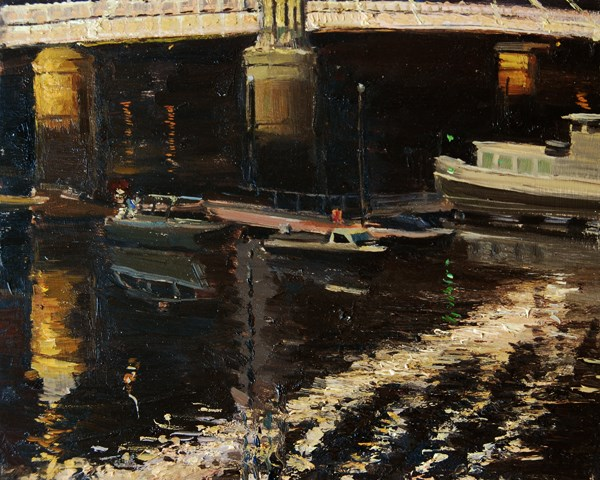 """Night Reflections Albert Bridge"" original fine art by Adebanji Alade"
