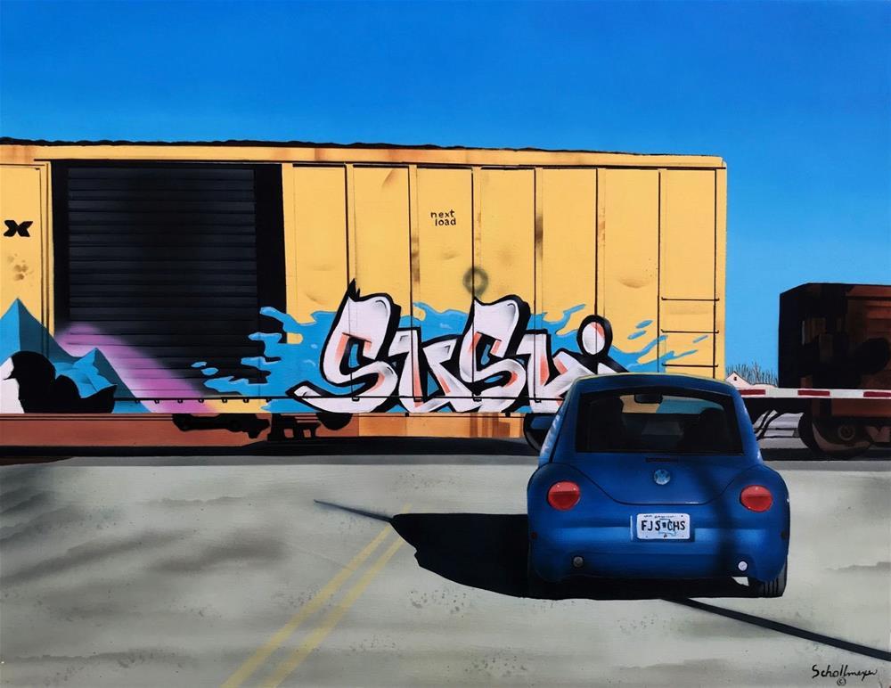 """Railroad Crossing (Saturday Morning)"" original fine art by Fred Schollmeyer"