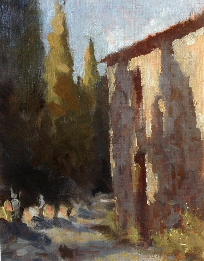"""""""Cypress alley in the evening"""" original fine art by Christine Bayle"""