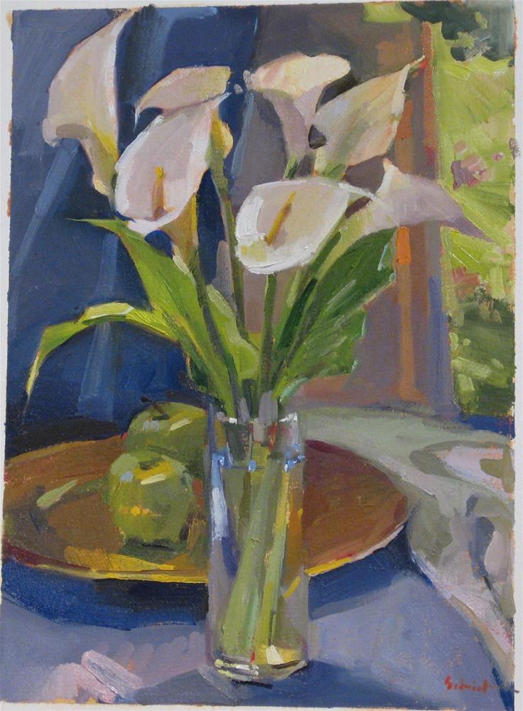 """Calla Lilies and Green Apples"" original fine art by Sarah Sedwick"