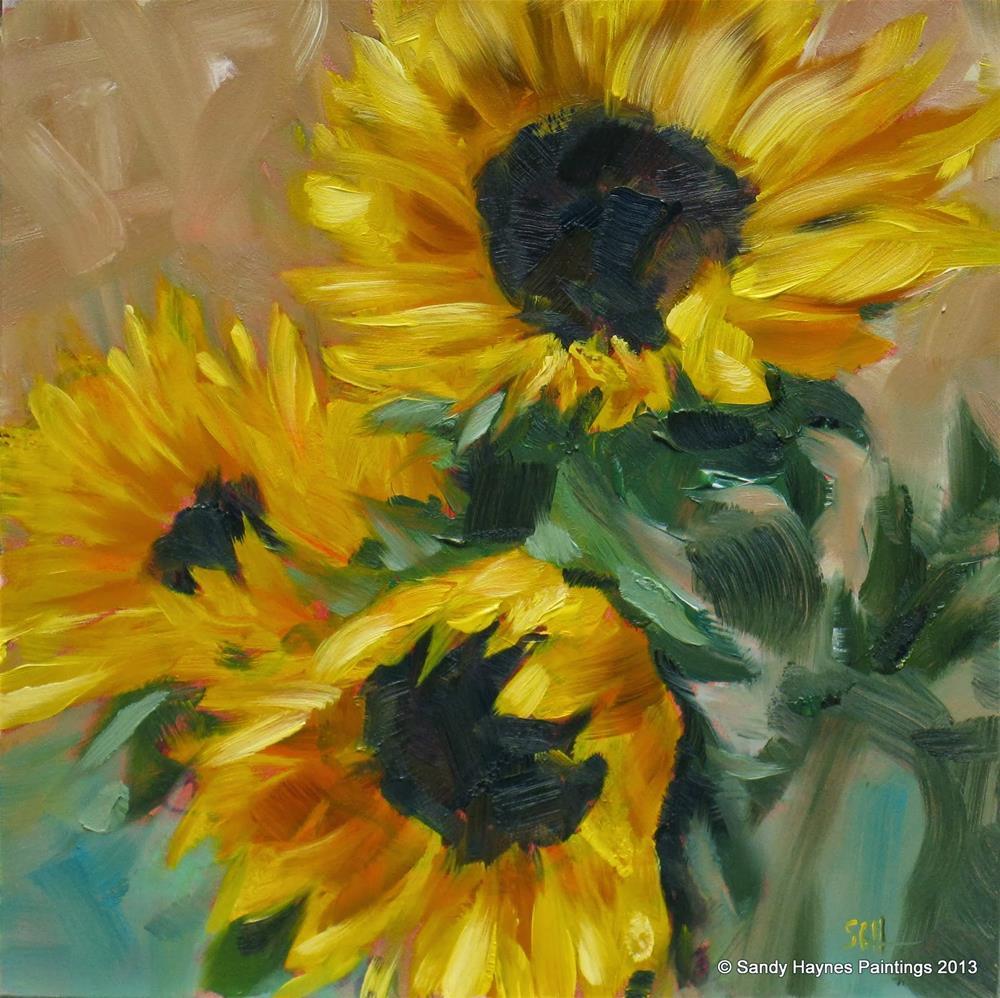 """""""Sunflower trio #145"""" original fine art by Sandy Haynes"""