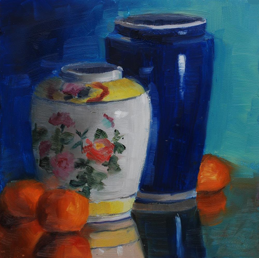 """Yellow Ginger Jar with Blue Vase"" original fine art by Susan McManamen"