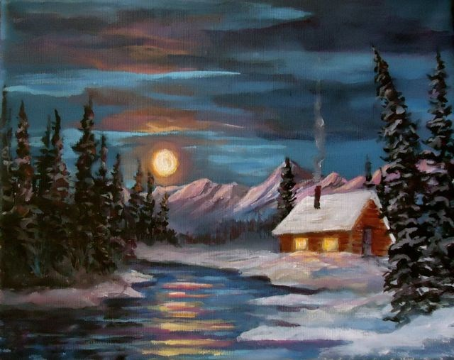"""""""Winter Moon and Cabin"""" original fine art by Jackie Irvine"""