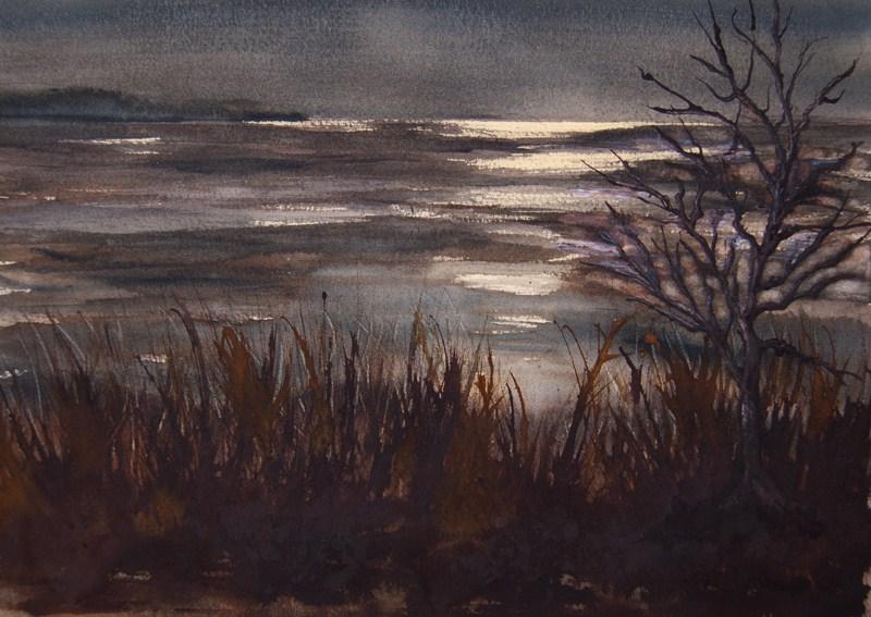 """""""Dappled Moonlight"""" original fine art by Jean Lurssen"""