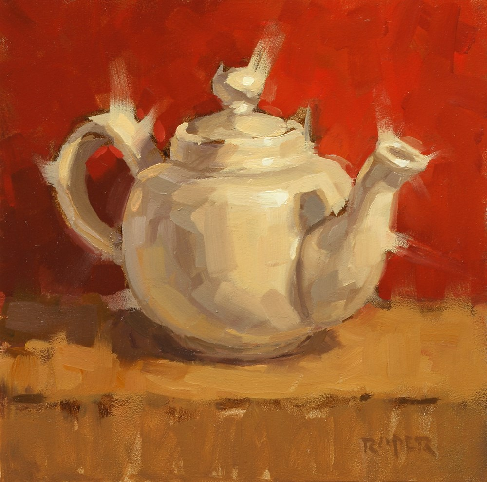 """Teapot on Red"" original fine art by Stuart Roper"