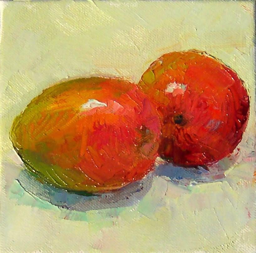 """MangoTango,still life,oil on canvas,6x6,price$200"" original fine art by Joy Olney"