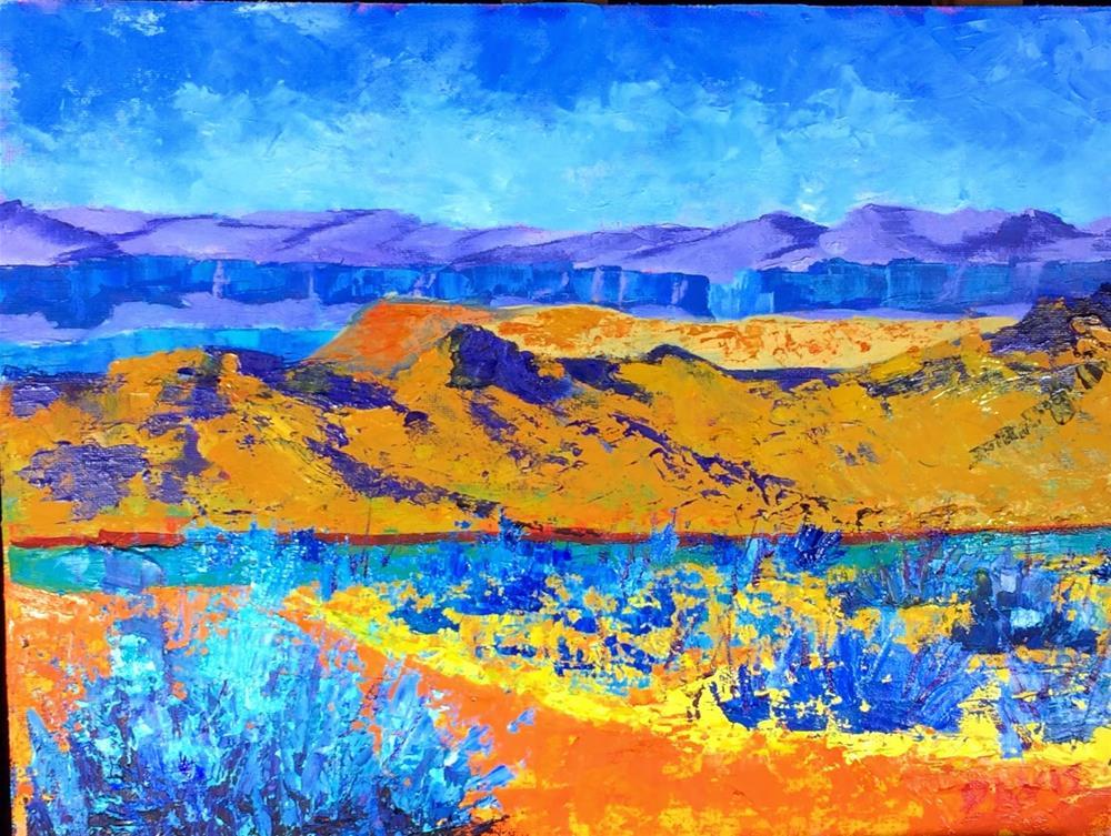 """Distant Mountains"" original fine art by Phyllis Davis"
