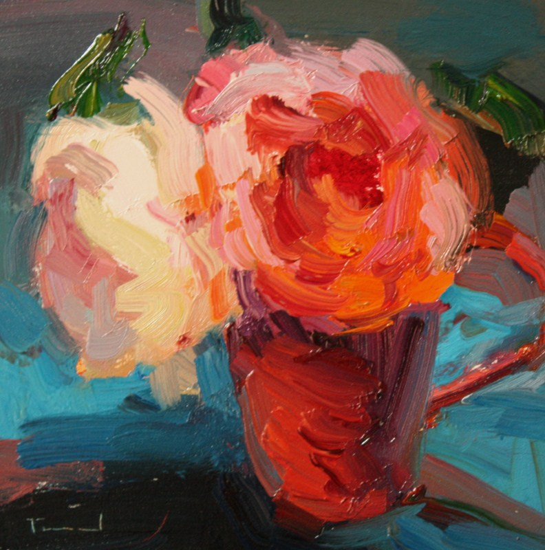 """""""Two Roses"""" original fine art by Kathryn Townsend"""