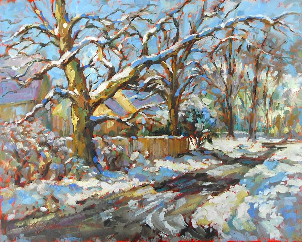 """""""Winter's Retreat"""" original fine art by Jeanne Bruneau"""