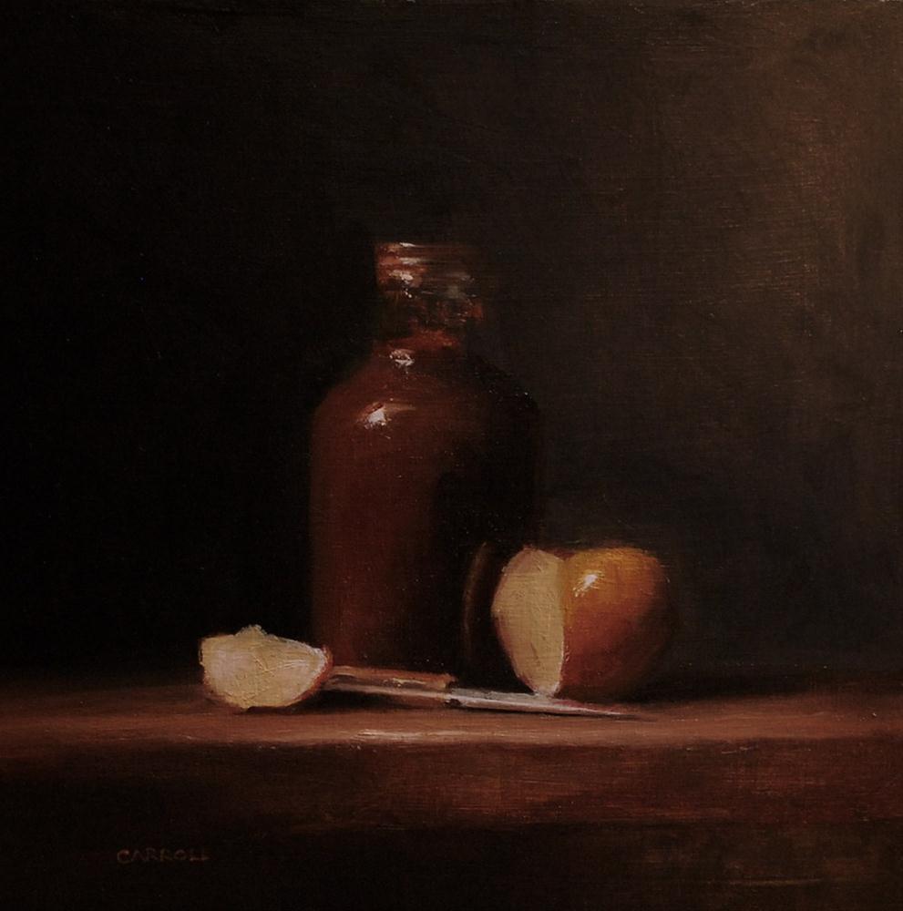 """Sauce Bottle with Sliced Apple"" original fine art by Neil Carroll"