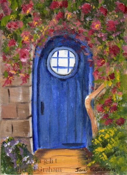 """""""Blue Door ACEO"""" original fine art by Janet Graham"""