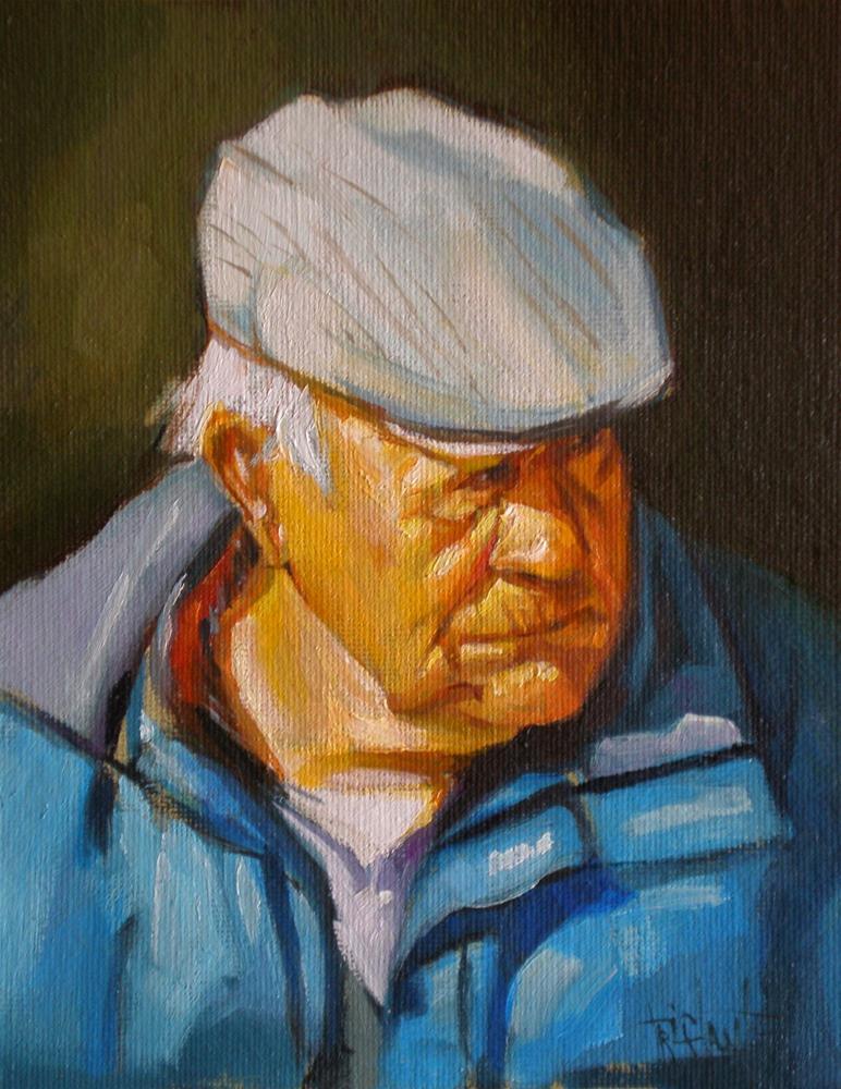 """Old farmer"" original fine art by Víctor Tristante"