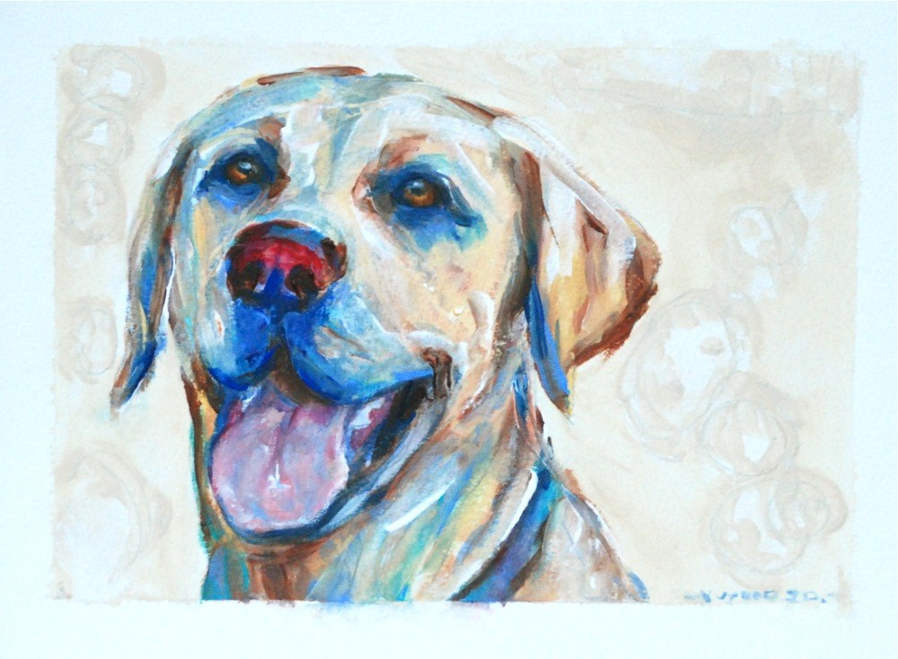 """""""Yellow lab after a hard day at play!"""" original fine art by Vicki Wood"""