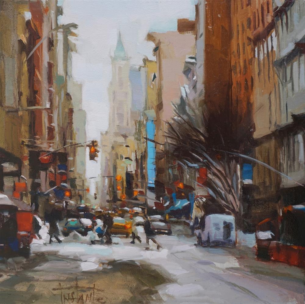 """New York snowy"" original fine art by Víctor Tristante"