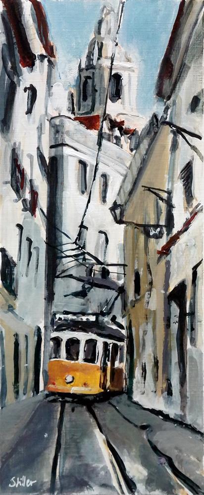 """""""2439 The Tram arrives"""" original fine art by Dietmar Stiller"""