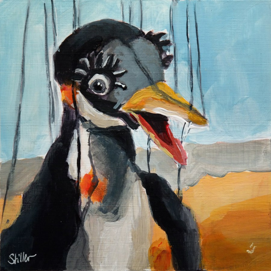 """1987 Ping Pinguin"" original fine art by Dietmar Stiller"