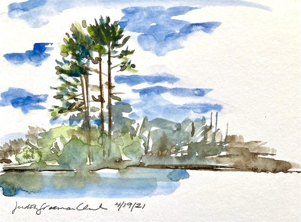 """Lake Quinsigamond, sketch #2"" original fine art by Judith Freeman Clark"